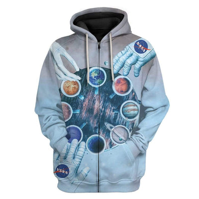 Gearhuman 3D Coffee Mug Solar System Custom Hoodies Apparel GM26026 3D Custom Fleece Hoodies Zip Hoodie S