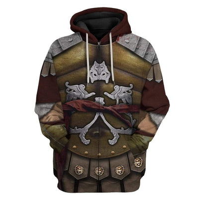 Gearhuman 3D Cosplay Gladiator Maximus Custom Hoodies Apparel GA11035 3D Custom Fleece Hoodies Zip Hoodie S