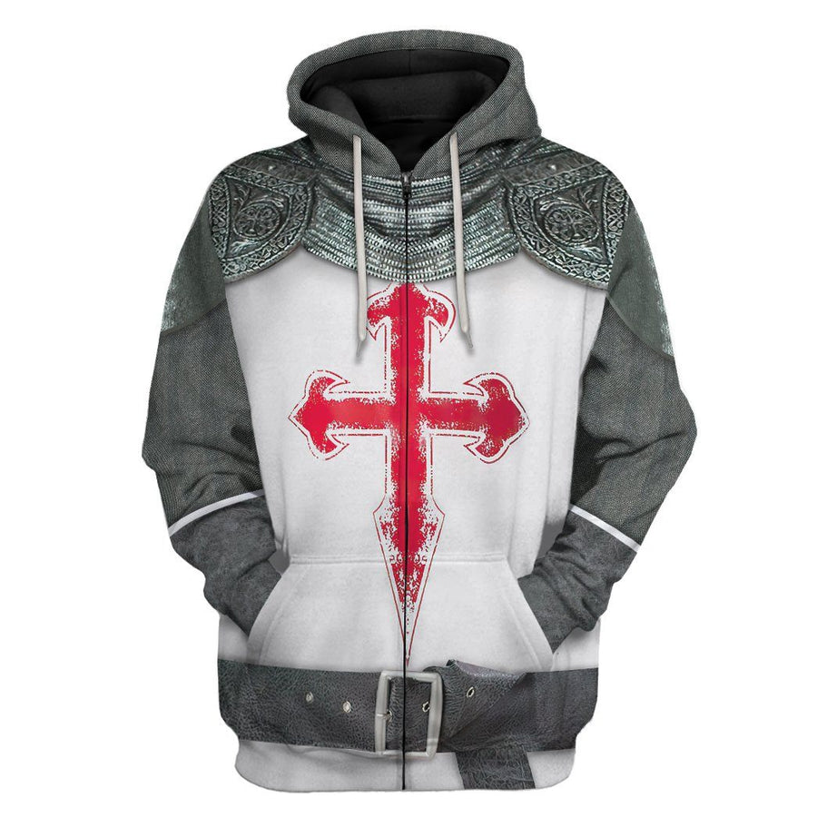 Gearhuman 3D Crusader Knight Armour Custom Hoodie Apparel GW200812 3D Custom Fleece Hoodies Hoodie S