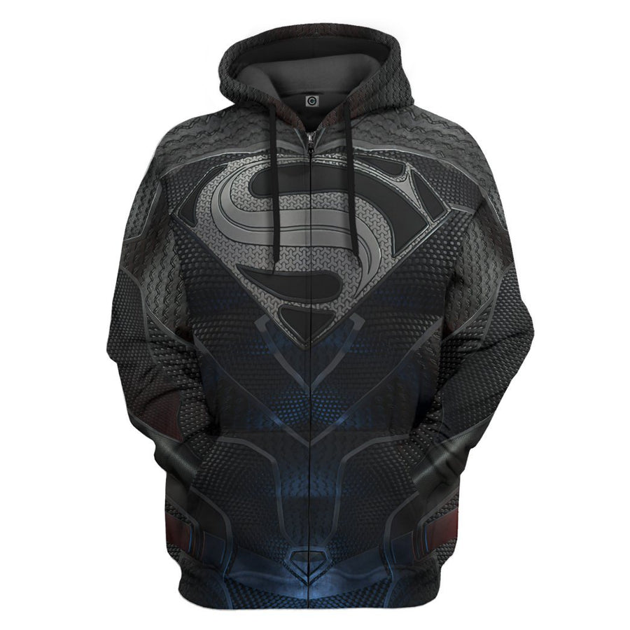 Gearhuman 3D DC Black Superman Custom Hoodie Apparel