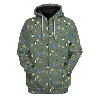 Gearhuman 3D Earth Day Custom Fleece Hoodie Apparel GW08043 3D Custom Fleece Hoodies Zip Hoodie S