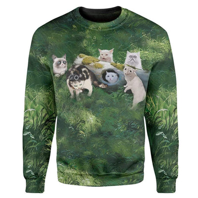 Gearhuman 3D Famous Cat Meme Custom T-Shirts Hoodies Apparel CT-TA1302202 3D Custom Fleece Hoodies Long Sleeve S