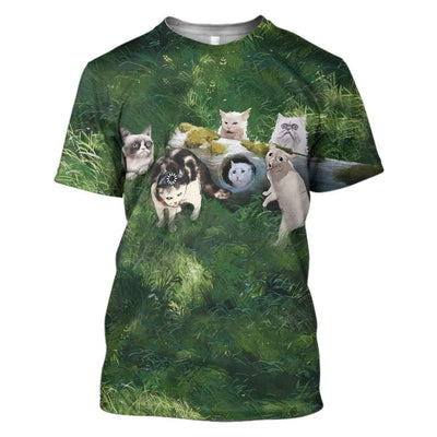 Gearhuman 3D Famous Cat Meme Custom T-Shirts Hoodies Apparel CT-TA1302202 3D Custom Fleece Hoodies T-Shirt S