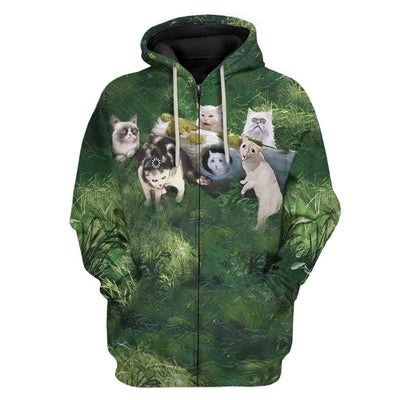 Gearhuman 3D Famous Cat Meme Custom T-Shirts Hoodies Apparel CT-TA1302202 3D Custom Fleece Hoodies Zip Hoodie S