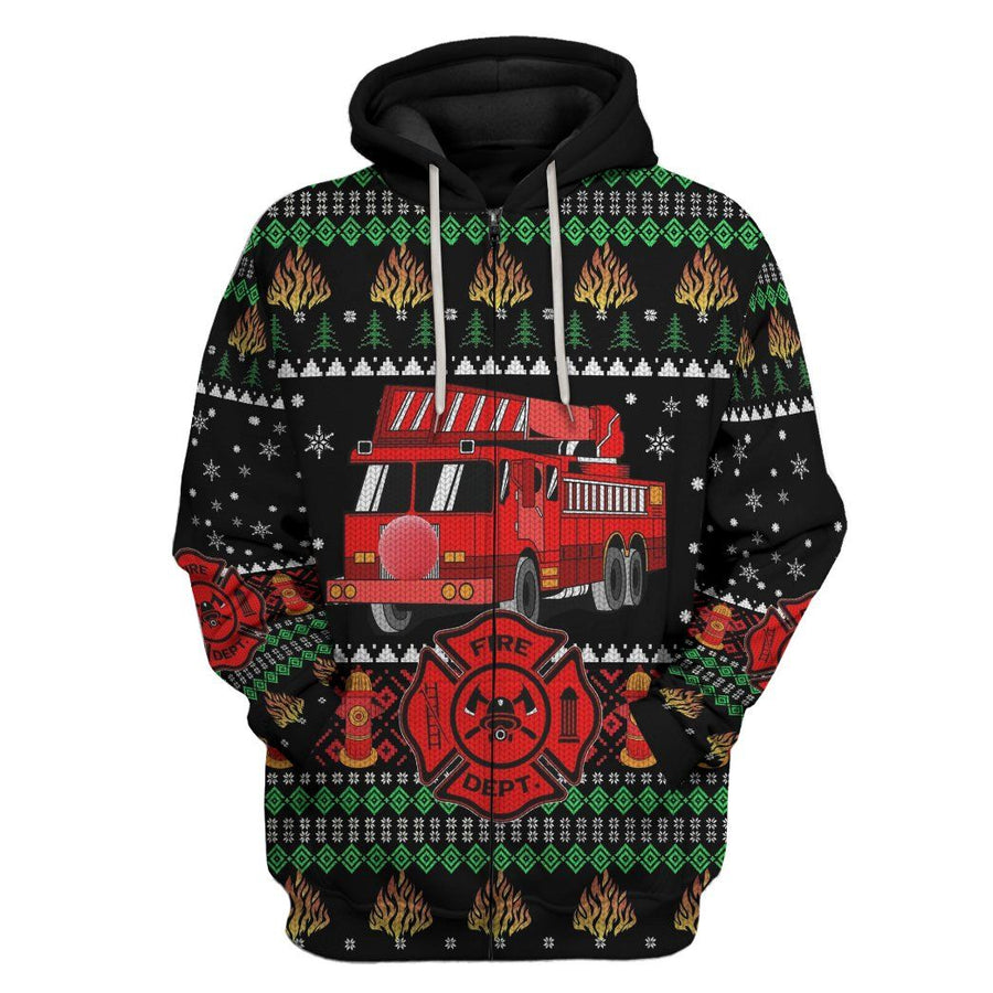 Gearhuman 3D Firefighter Truck Ugly Christmas Sweater Custom Hoodie Apparel