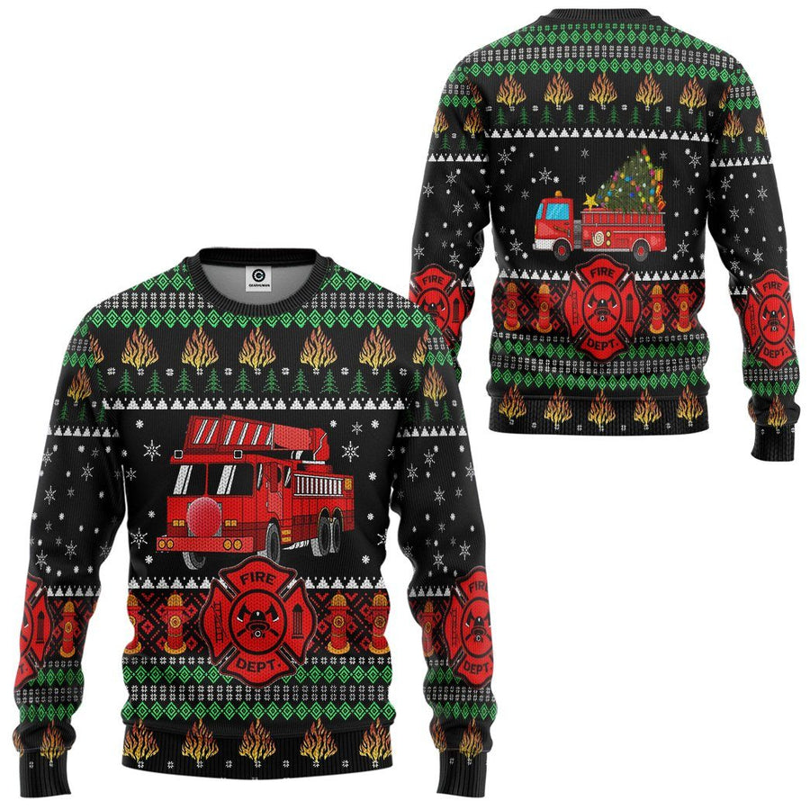 Gearhuman 3D Firefighter Truck Ugly Christmas Sweater Custom Sweatshirt Apparel