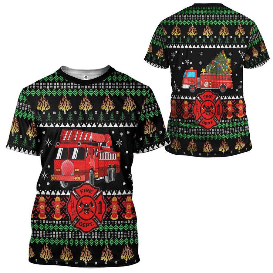 Gearhuman 3D Firefighter Truck Ugly Christmas Sweater Custom Tshirt Apparel