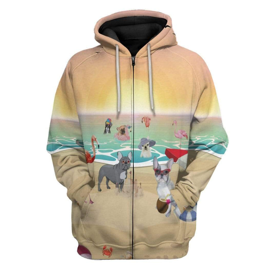 Gearhuman 3D French Bulldog With Flamingo At The Beach Custom Hoodie Apparel