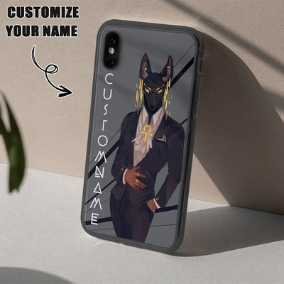 GearHuman 3D Gentle Anubis Gold Custom Name Phonecase GR07011 Glass Phone Case