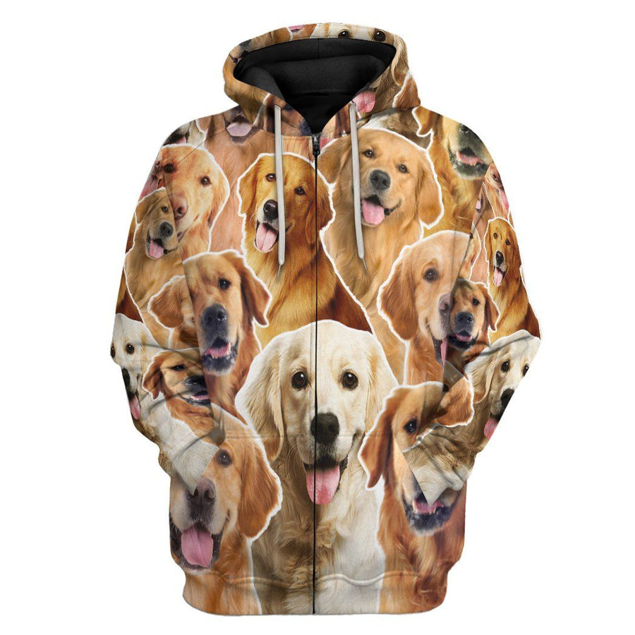 Gearhuman 3D Golden Retriever All Over Custom Hoodie Apparel