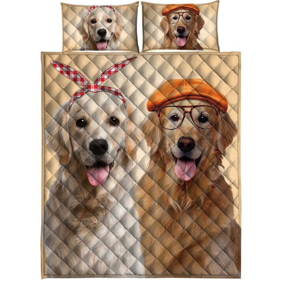 Gearhuman 3D Golden Retriever Couple Custom Quilt Set GW010910 Quilt Set Quilt Set Twin