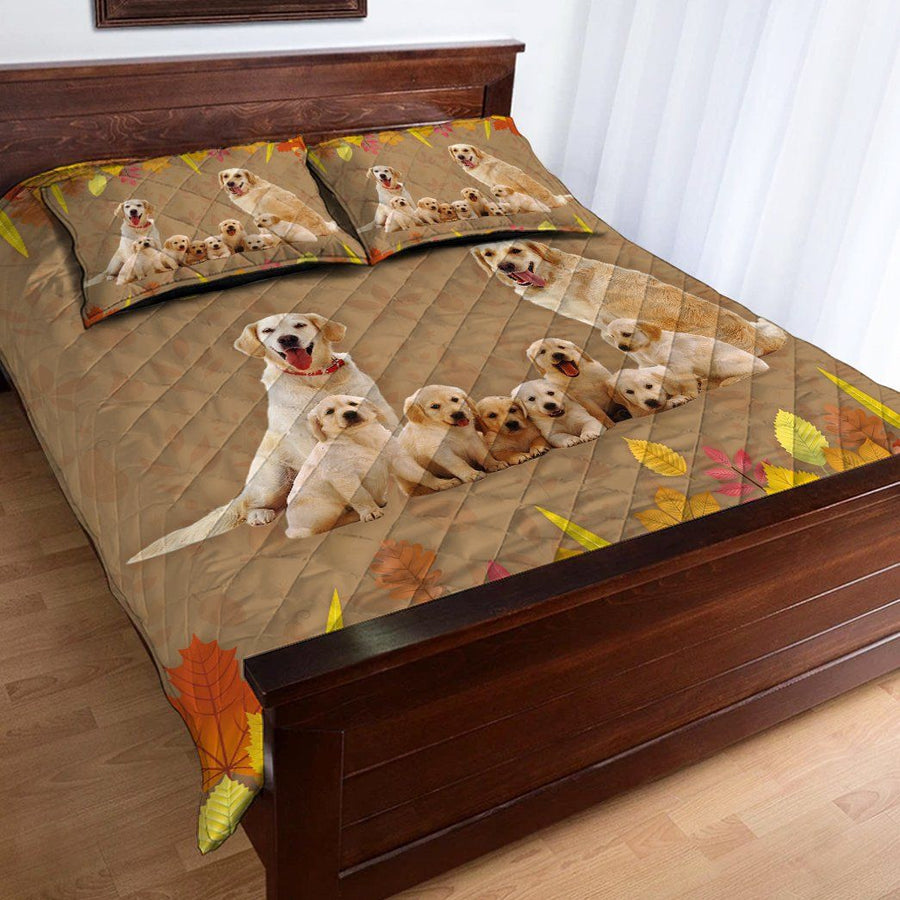 Gearhuman 3D Golden Retriever Family Custom Name Quilt Set