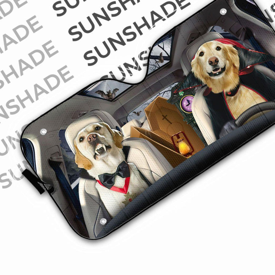 Gearhuman 3D Golden Retriever Vampire Custom Car Auto Sunshade GW01094 Auto Sunshade 57''x27.5''