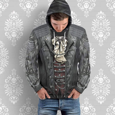 Gearhuman 3D Gothic Rock Skull Custom Hoodie Apparel GW270718 3D Custom Fleece Hoodies