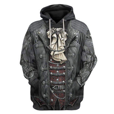 Gearhuman 3D Gothic Rock Skull Custom Hoodie Apparel GW270718 3D Custom Fleece Hoodies Hoodie S