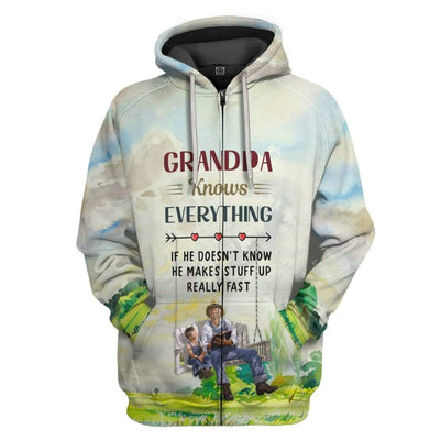 Gearhuman 3D Grandpa Knows Everything Custom Hoodie Apparel GL15052 3D Custom Fleece Hoodies Zip Hoodie S