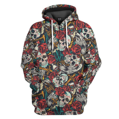 Gearhuman 3D Halloween Day Of The Dead Custom Hoodie Apparel GN170815 3D Custom Fleece Hoodies Zip Hoodie S