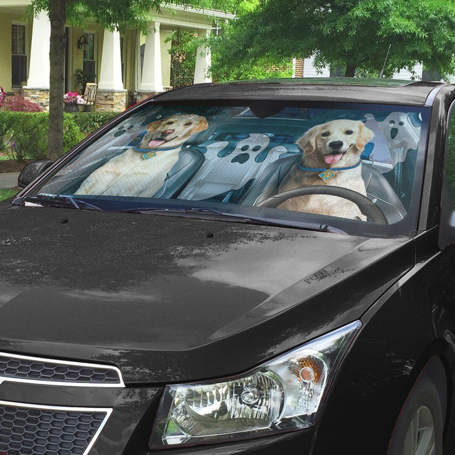 Gearhuman 3D Halloween Golden Retriever Custom Car Auto Sunshade GL240812 Auto Sunshade 57''x27.5''