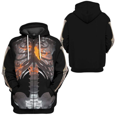Gearhuman 3D Halloween Skeleton Custom Hoodie Apparel GW12081 3D Custom Fleece Hoodies