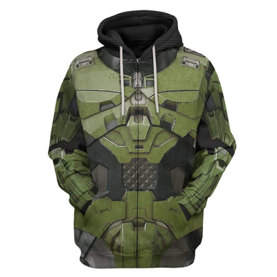 Gearhuman 3D Halo Infinite Masterchief Cosplay Custom Hoodie Apparel GS29076 3D Custom Fleece Hoodies Zip Hoodie S