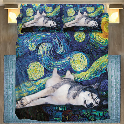 Gearhuman 3D Husky Starry Night Bedding Set GK31124 Bedding Set