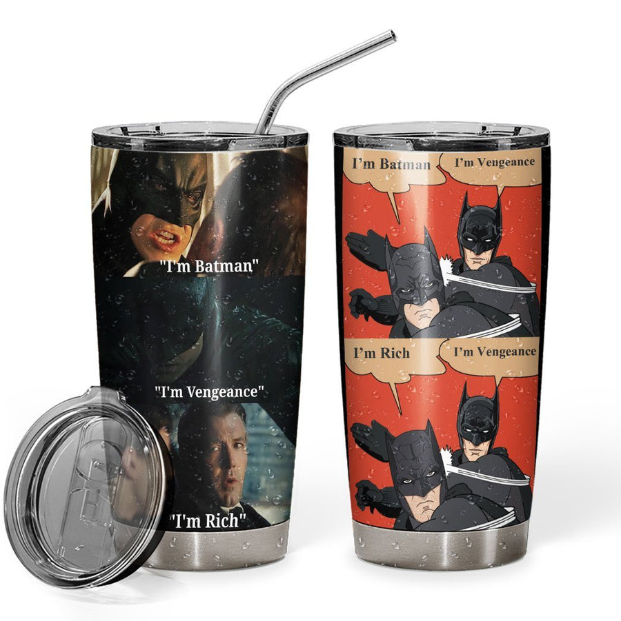 Gearhuman 3D I Am Batman Vengeance Custom Design Vacuum Insulated Tumbler GL26084 Tumbler 20oz