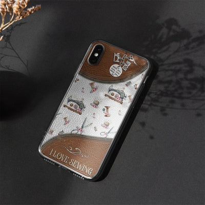 Gearhuman 3D I Love Sewing Custom Phonecase GB05012 Glass Phone Case