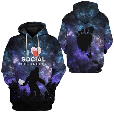 Gearhuman 3D I Love Social Distancing Custom Fleece Hoodie Apparel GA21031 3D Custom Fleece Hoodies