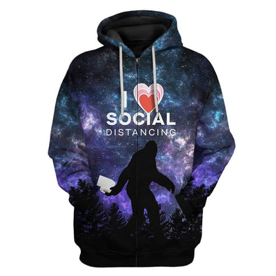 Gearhuman 3D I Love Social Distancing Custom Fleece Hoodie Apparel GA21031 3D Custom Fleece Hoodies Zip Hoodie S