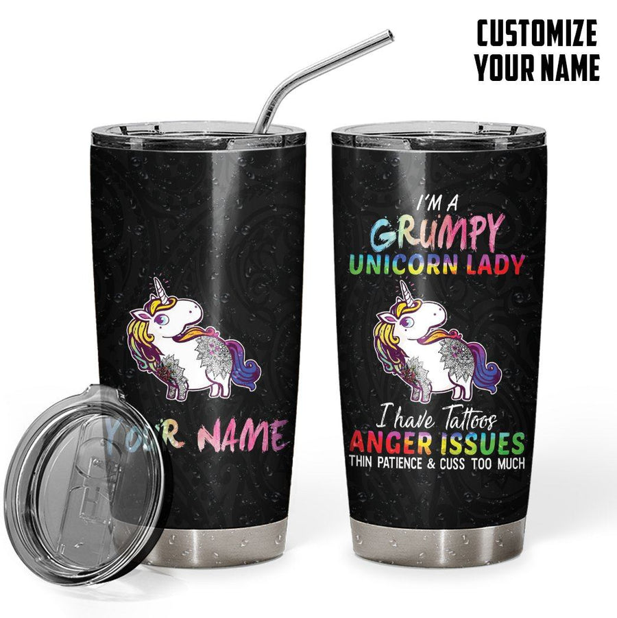 Gearhuman 3D Im A Grumpy Unicorn Lady Custom Name Design Vacuum Insulated Tumbler GV11098 Tumbler 20oz