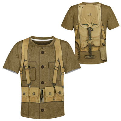 Gearhuman 3D Kid WW1 Soldier Uniform Custom Tshirt Hoodie Apparel CK07126 Kid 3D Apparel