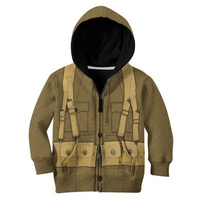 Gearhuman 3D Kid WW1 Soldier Uniform Custom Tshirt Hoodie Apparel CK07126 Kid 3D Apparel Kid Zip Hoodie S