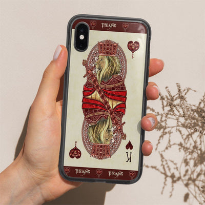 Gearhuman 3D King Hearts Lion Poker Custom Phonecase GB31124 Glass Phone Case