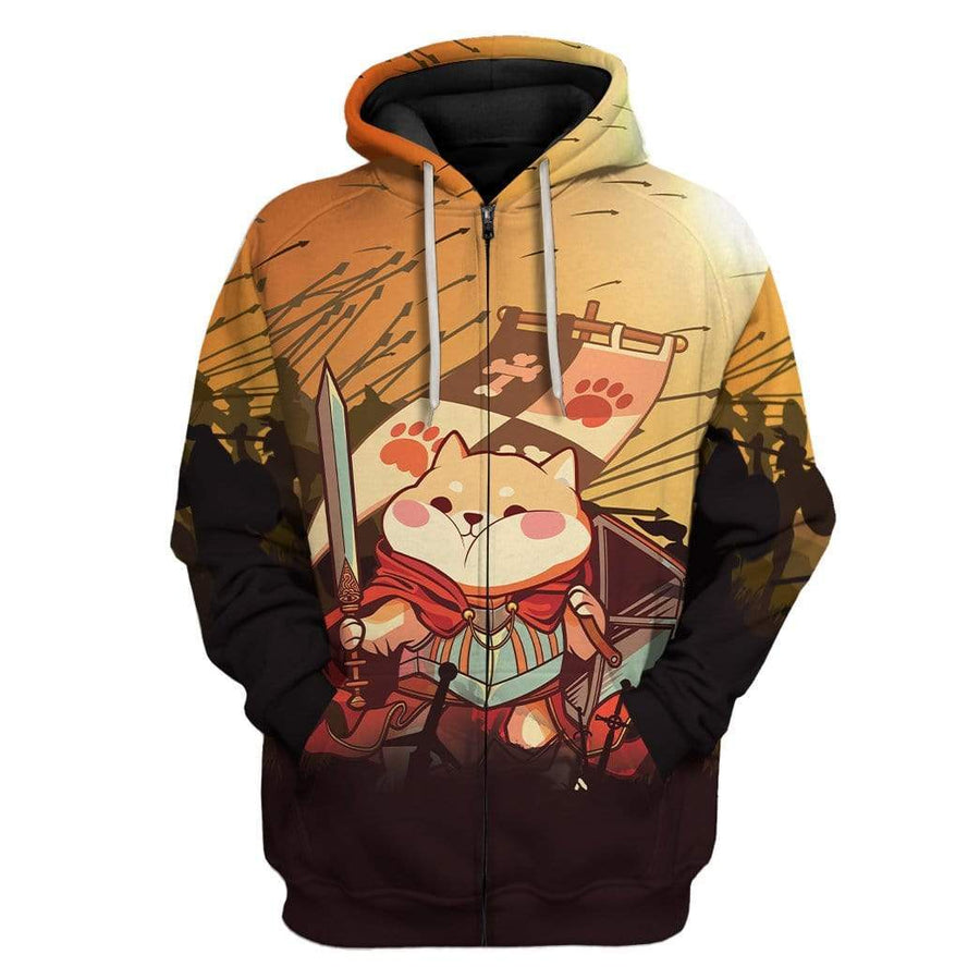 Gearhuman 3D Knight Shiba Battlefield Custom Hoodie Apparel