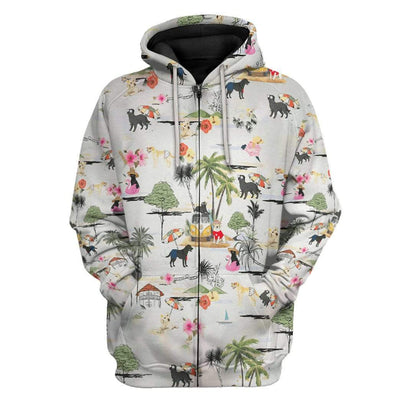 Gearhuman 3D Labrador Retriever Hawaii Beach Retro Custom Hoodie Apparel GV220611 3D Custom Fleece Hoodies Zip Hoodie S