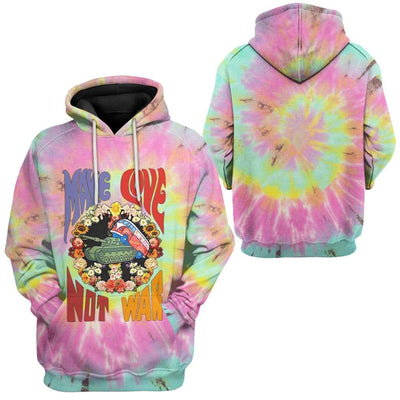 Gearhuman 3D Make Love Not War Tie Dye Custom Hoodie Apparel GW26062 3D Custom Fleece Hoodies