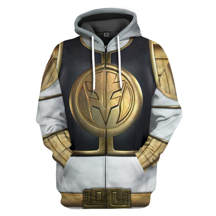 Gearhuman 3D Mighty Morphin White Power Rangers Custom Hoodie Apparel