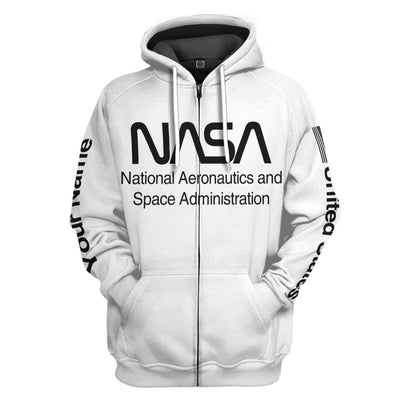 Gearhuman 3D Nasa Custom Name Hoodie Apparel GN180815 3D Custom Fleece Hoodies Zip Hoodie S