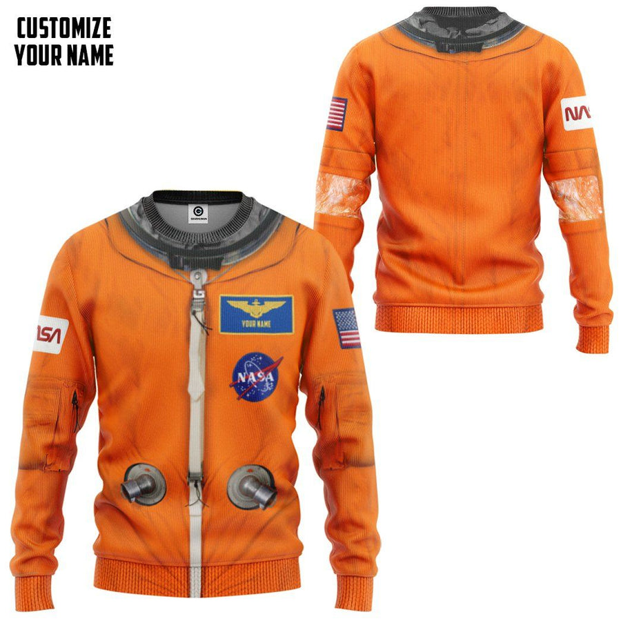 Gearhuman 3D NASA Orange Space Suit Custom Name Sweatshirt Apparel