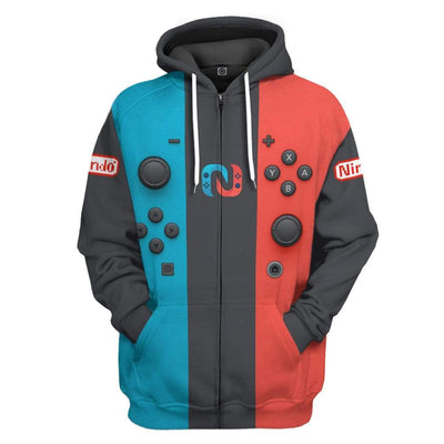 Gearhuman 3D Nintendo Switch Custom Fleece Hoodie Apparel GW28041 3D Custom Fleece Hoodies Zip Hoodie S