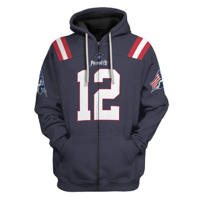 Gearhuman 3D Patriot Football Team Uniform Custom Fleece Hoodie Apparel GW230410 3D Custom Fleece Hoodies Zip Hoodie S