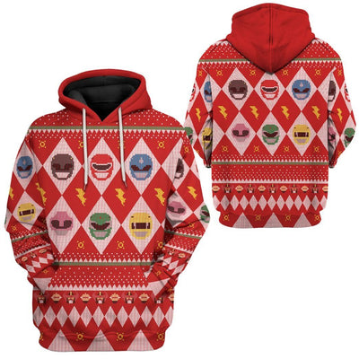 Gearhuman 3D Power Rangers Ugly Sweater Custom Tshirt Hoodie Apparel CW29101 3D Apparel