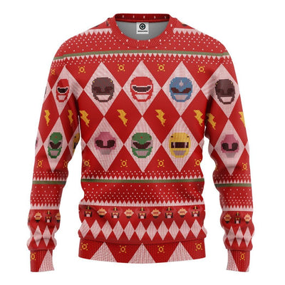 Gearhuman 3D Power Rangers Ugly Sweater Custom Tshirt Hoodie Apparel CW29101 3D Apparel Long Sleeve S