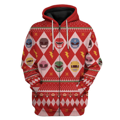 Gearhuman 3D Power Rangers Ugly Sweater Custom Tshirt Hoodie Apparel CW29101 3D Apparel Zip Hoodie S