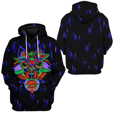 Gearhuman 3D Psychedelic Wolf Custom Hoodies Apparel GT26023 3D Custom Fleece Hoodies