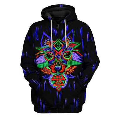 Gearhuman 3D Psychedelic Wolf Custom Hoodies Apparel GT26023 3D Custom Fleece Hoodies Zip Hoodie S