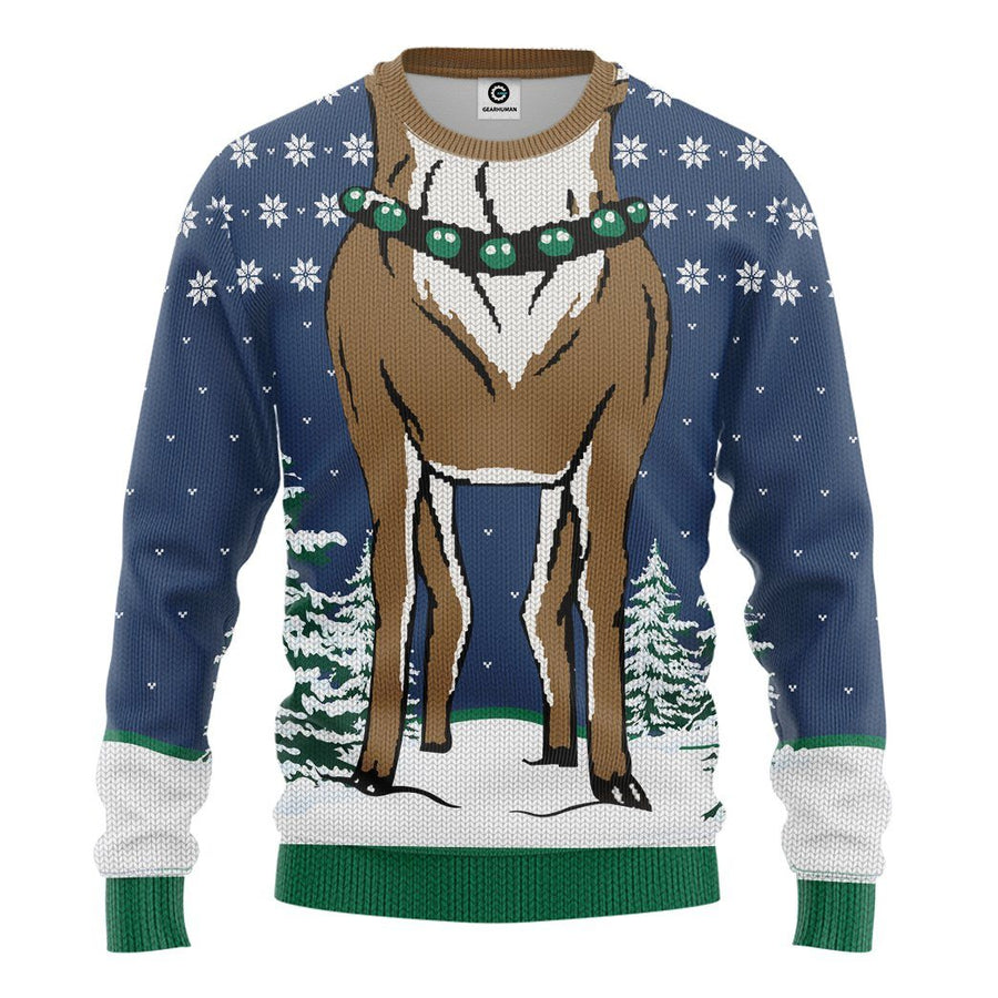 Gearhuman 3D Reindeer Ugly Sweater Custom Name Tshirt Hoodie Apparel