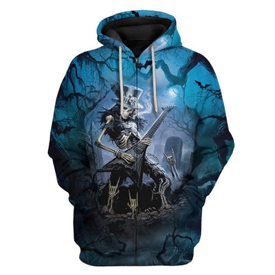 Gearhuman 3D Rock Never Die T-Shirts Hoodies Apparel SK-M14026 3D Custom Fleece Hoodies Zip Hoodie S