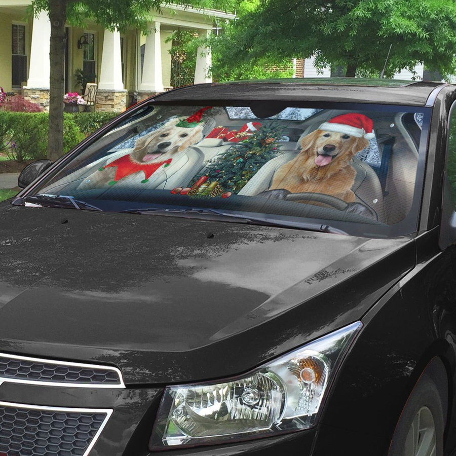 Gearhuman 3D Santa And Elf Golden Retriever Custom Car Auto Sunshade