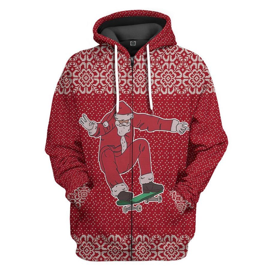 Gearhuman 3D Santa Claus Jolly Ugly Sweater Custom Hoodie Apparel GC06103 3D Apparel Hoodie S